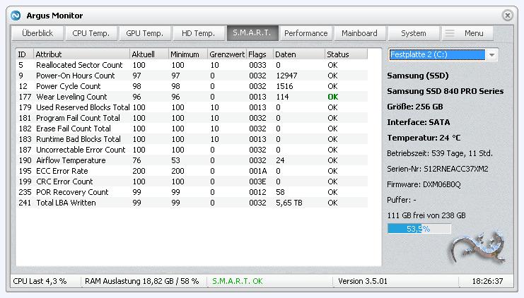 S.M.A.R.T. Monitoring einer SSD -- Anzeige der Attribute
