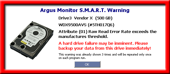 S.M.A.R.T. warning before the hard drive fails to prevent data loss