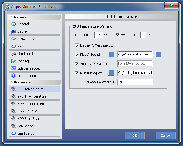 Configuration example for CPU temperature warning