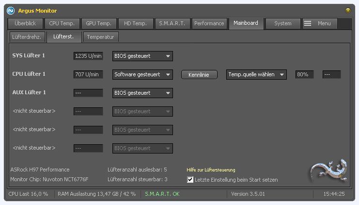 Argus Monitor - Einstellmöglichkeiten für Lüfterregelung