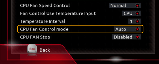BIOS option to change fan control mode